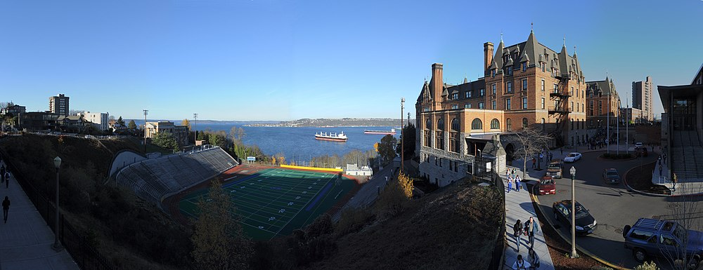 The public Stadium High School (at right), originally built as a hotel