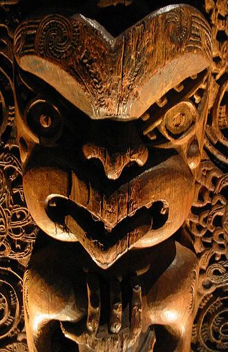 Māori mythology - Detail from a tāhūhū (ridgepole of a house), Ngāti Awa, Bay of Plenty, New Zealand, circa 1840. Believed to represent one of two ancestors: Tūwharetoa or Kahungunu.