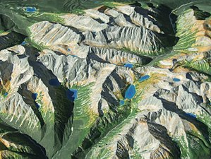 Raised-relief map - Hand-made raised-relief map of the High Tatras in scale 1: 50 000
