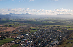 South Canterbury - Looking across Temuka and the Canterbury Plains toward the Southern Alps.