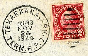 Terminal Railway Post Office - This letter was worked by Tour 3 of the Texarkana, Arkansas, Terminal RPO in November 1924.
