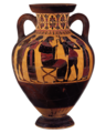 Terracotta neck-amphora of Panathenaic shape (jar) MET DP161828 white balanced white bg.png
