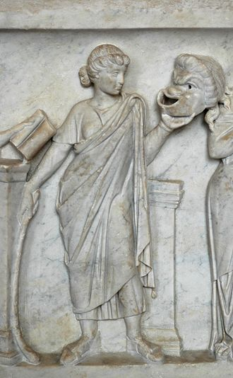 "Comedy - Thalia, muse of comedy, holding a comic mask - detail of ""Muses Sarcophagus"", the nine Muses and their attributes; marble, early second century AD, Via Ostiense - Louvre"