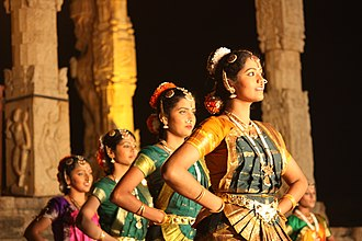 Bharatanatyam - Dancers at Thanjavur, Brihadeshwara temple dedicated to Shiva. The temple has been a major center for Bharatanatyam since about 1000 CE.