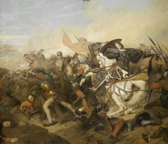 Battle of Cassel (1328) - Henry Scheffer : Philippe VI de Valois (Le roi salique) : Louis-Philippe Ier : Bataille de Cassel, le 23 août 1328 - La galerie des Batailles - Château de Versailles