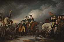 The Capture of the Hessians celebrates the important victory by General George Washington at the Battle of Trenton. In the center of the painting, Washington is focused on the needs of the mortally wounded Hessian Colonel Johann Rall. On the left, the severely wounded Lieutenant James Monroe is helped by Dr. John RIker. On the right is Major General Nathanael Greene on horseback.