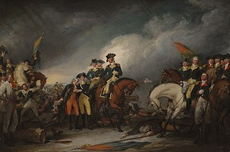 James Monroe - The Capture of the Hessians at Trenton, December 26, 1776, by John Trumbull, showing Captain William Washington, with a wounded hand, on the right and Lt. Monroe, severely wounded and helped by Dr. Riker, left of center