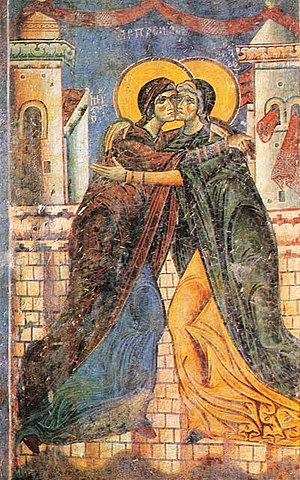 Visitation (Christianity) - Eastern Christianity fresco of the Visitation in St. George Church in Kurbinovo, Macedonia