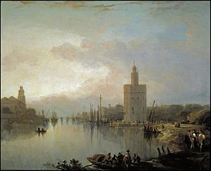Torre del Oro - David Roberts - The Guadalquivir and the Golden Tower (c. 1832).