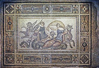 "Symbols of Europe - Europa velificans, ""her fluttering tunic… in the breeze"" (mosaic, Zeugma Mosaic Museum)"