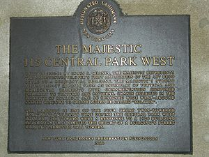 The Majestic (New York City) - Memorial plate