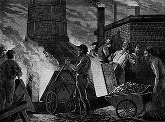 Furnace - The Manufacture of Iron -- Filling the Furnace, an 1873 wood engraving