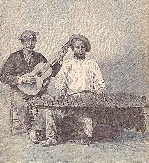"""Marimba - """"The Marimba"""" from """"The Capitals of Spanish America"""" (1888)"""