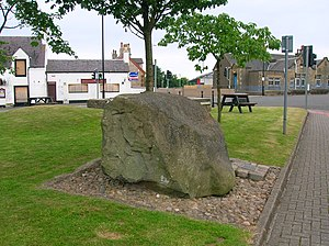 Monkton, Ayrshire - The Hare Stone and a view of Monkton.