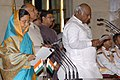 The President, Smt. Pratibha Devisingh Patil administering the oath as Cabinet Minister to Shri Mallikarjun Kharge, at a Swearing-in Ceremony, at Rashtrapati Bhavan, in New Delhi on May 28, 2009.jpg