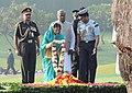 The President, Smt. Pratibha Devisingh Patil paying floral tributes at the Samadhi of former Prime Minister, Late Smt. Indira Gandhi, on her 93rd Birth Anniversary, at Shakti Sthal, in Delhi on November 19, 2010.jpg