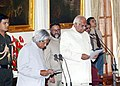 The President Dr. A.P.J. Abdul Kalam administering oath of office as Pro-tem Speaker to Shri Somnath Chatterjee at a Swearing-in Ceremony in New Delhi on June 2, 2004.jpg