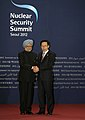The Prime Minister, Dr. Manmohan Singh with the South Korean President, Mr. Lee Myung-bak, at the Welcome Reception for the Nuclear Security Summit, in Seoul on March 26, 2012.jpg