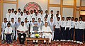 The Prime Minister, Dr. Manmohan Singh with the engineering students from naxal affected areas of Chhattisgarh, in New Delhi on July 03, 2012. The Chief Minister of Chhattisgarh, Dr. Raman Singh is also seen.jpg