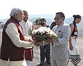 The Prime Minister, Shri Narendra Modi being received by the Chief Minister of Nagaland, Shri T.R. Zeliang, at Kohima, in Nagaland on December 01, 2014. The Governor of Nagaland, Shri P.B. Acharya is also seen.jpg