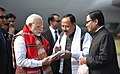 The Prime Minister, Shri Narendra Modi being welcomed on his arrival at Lilabari Airport, in Assam on February 15, 2018 (1).jpg