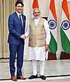 The Prime Minister, Shri Narendra Modi with the Prime Minister of Canada, Mr. Justin Trudeau, at Hyderabad House, in New Delhi on February 23, 2018 (4).jpg