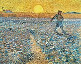 A man walking from left to right in the upper third of a vast field of crops. He is planting seeds with his right arm extended from a seed-bag that he carries over his shoulder. On the horizon to the left, in the distance, is a farmhouse and in the center of the horizon is a giant yellow rising sun surrounded by emanating rays of yellow sunlight.