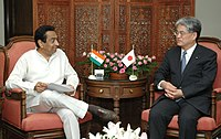 The Union Minister for Commerce & Industry, Shri Kamal Nath meeting with the Senior Vice Minister of Finance of Japan, Mr. Shigeyuki Tomita, in New Delhi on July 02, 2007.jpg