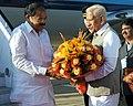 The Vice President, Shri M. Venkaiah Naidu being received by the Governor of Karnataka, Shri Vajubhai Vala, on his arrival, in Bengaluru on January 19, 2018.jpg
