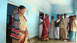 The blind women coming out from after casting her vote at Debaipur polling booth in district Murshidabad, West Bengal during the 4th Phase of General Election-2009 on May 07, 2009.jpg