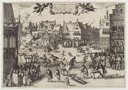 Print of members of the Gunpowder Plot being hanged, drawn and quartered The execution of Guy Fawkes' (Guy Fawkes) by Claes (Nicolaes) Jansz Visscher.jpg