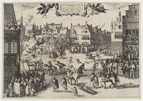 A 1606 etching by Claes (Nicolaes) Jansz Visscher, depicting Fawkes's execution The execution of Guy Fawkes' (Guy Fawkes) by Claes (Nicolaes) Jansz Visscher.jpg