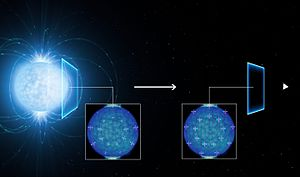 QED vacuum - Image: The polarisation of light emitted by a neutron star