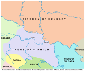 Theme of Sirmium - Map of the theme in 1025, based on D. Brujić (2004).