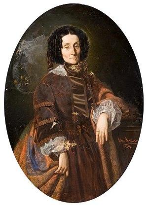 Alecu Filipescu-Vulpea - Zoe Brâncoveanu, Gheorghe Bibescu's wife and founder of Așezămintele Brâncovenești (portrait by Theodor Aman)