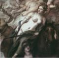 Theodor van THULDEN (1606–1669), Allegorie auf den Frieden von Oliva, Gemälde im Stadtschloss Potsdam (Marmorsaal), Ausschnitt Dame auf Pferd.png