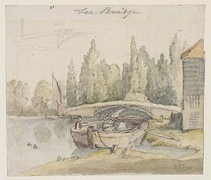 Lea Bridge Road - Thomas Hosmer Shepherd's 1834 watercolour sketch of the old Lea Bridge, built in 1820