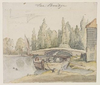 Lea Bridge Road - Thomas Hosmer Shepherd's 1834 watercolour sketch of the old Lea Bridge, built in 1820