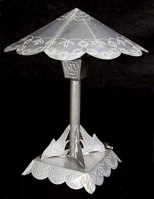 Tinsmith - Tinware desk lamp, late 1930s, Bandelier National Monument. Made by a Civilian Conservation Corps tinsmith.