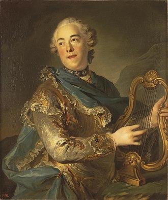 Pierre Jélyotte - Louis Tocqué, 1755, Portrait de Pierre de Jélyotte (Portrait of Actor as Apollo), oil on canvas, 82 × 72 cm (32.3 × 28.3 in), Hermitage Museum
