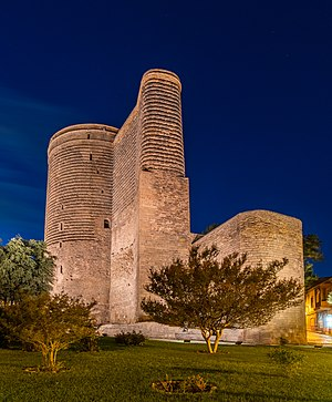 View of the Maiden Tower during the blue hour Old City, Baku, capital of Azerbaijan.
