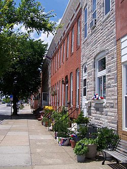 Traditional rowhouses on East Fort Avenue in Locust Point