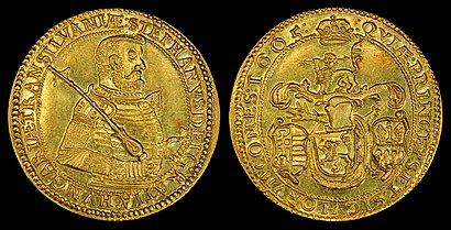 1605 10 Ducat gold coin, depicting Stephen Bocskay as Prince of Transylvania (1605-1606).