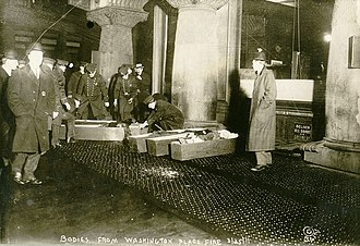 Triangle Shirtwaist Factory fire - Bodies of the victims being placed in coffins on the sidewalk
