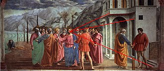 The Tribute Money (Masaccio) - Painting with drawn-in lines showing how the single-point perspective converges on the head of Christ.