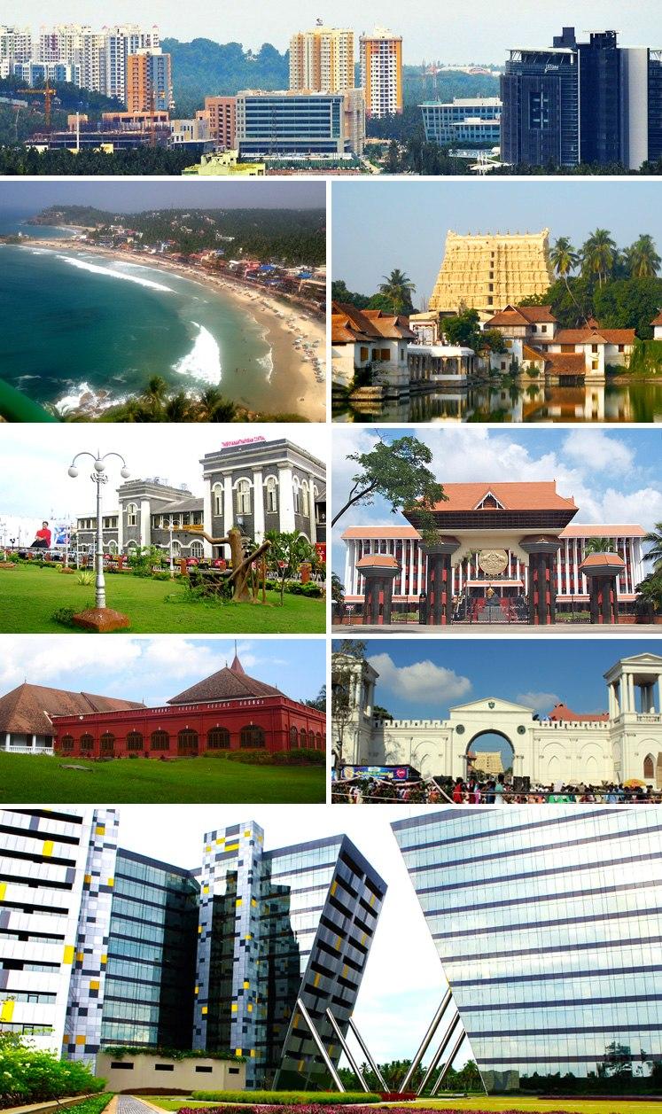 Clockwise, from top: View of Kulathoor, Padmanabhaswamy Temple, Niyamasabha Mandiram, East Fort, Technopark, Kanakakkunnu Palace, Thiruvananthapuram Central and Kovalam Beach