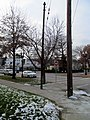 Trolley pole in Oak Square, January 2016.JPG
