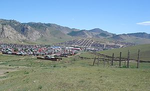 Khangai Mountains - The Khangai Mountains at Tsetserleg, capital of Arkhangai Province.