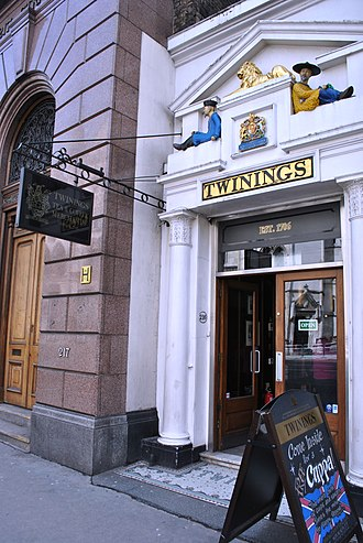 Twinings - Twinings' shop on the Strand in central London was established as a tea room in 1706