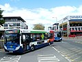 Two Stagecoach buses enter Cwmbran bus station - geograph.org.uk - 2429677.jpg